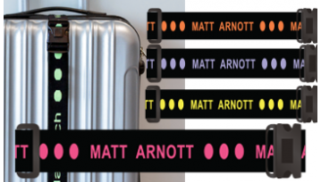 Personalised Luggage Straps - Coloured Font