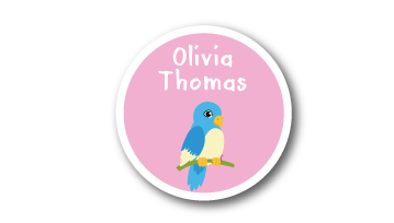 New! Designer Round Name Labels -  Bird