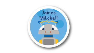 Animated Round Name Labels -  Robot