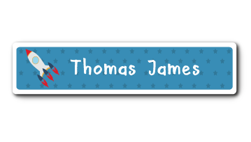 New! Designer Name Labels - Blue Rocket