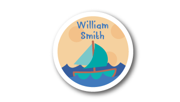 New! Designer Round Name Labels -  Boat