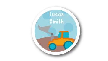 New! Designer Round Name Labels -  Bulldozer