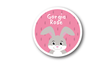 New! Designer Round Name Labels -  Rabbit