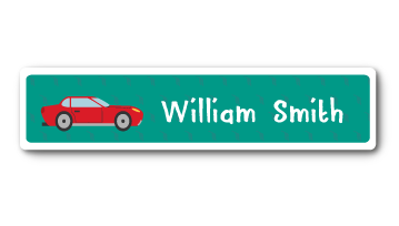 New! Designer Name Labels - Red Car