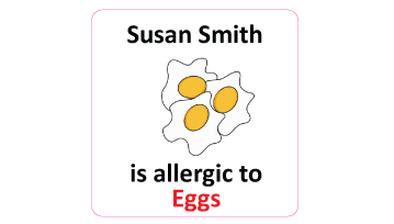 Egg Allergy Square Name Labels - 30 Stickers