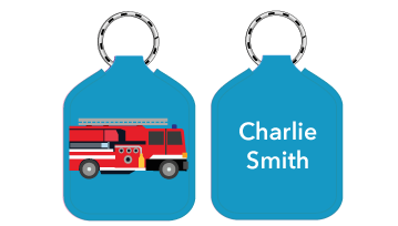 New! Designer Bag Tags - Fire Engine