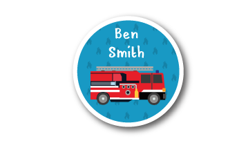New! Designer Round Name Labels -  Fire Truck
