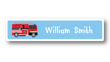 New! Designer Name Labels - Fire Truck