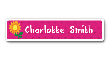 New! Designer Name Labels - Flower