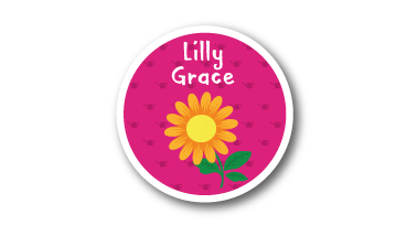 Designer Round Name Labels -  Flower