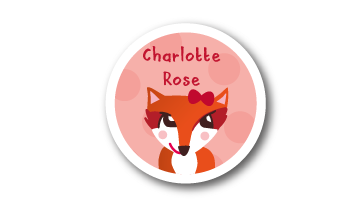 Designer Round Name Labels - Fox