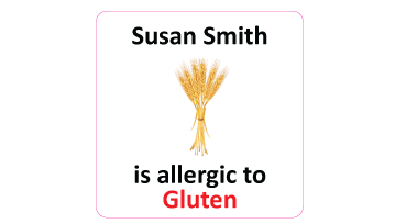 Gluten Allergy Square Name Labels - 30 stickers