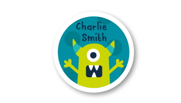 New! Designer Round Name Labels - Monster