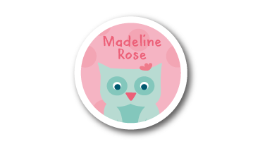 New! Designer Round Name Labels -  Owl