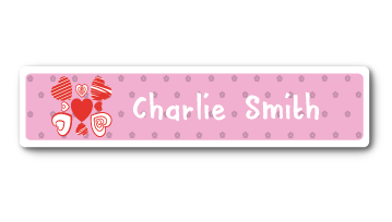 New! Designer Name Labels - Hearts
