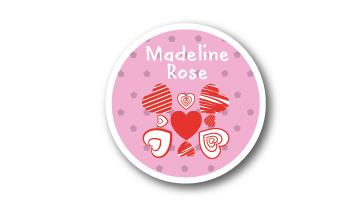 New! Designer Round Name Labels -  Hearts