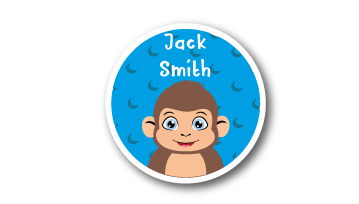 New! Designer Round Name Labels -  Monkey