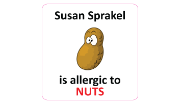 Nuts Allergy Square Name Labels - 30 stickers