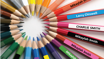 Coloured Pencil Name Labels - 144 Stickers