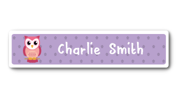 New! Designer Name Labels - Purple Owl