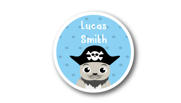 New! Designer Round Name Labels -  Pirate Seal