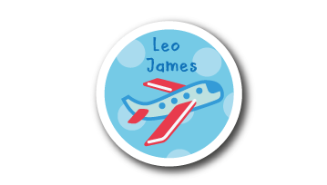 New! Designer Round Name Labels -  Plane