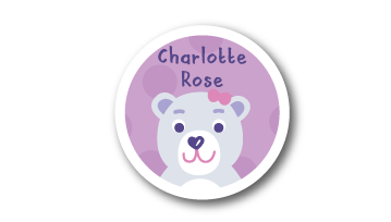 Designer Round Name Labels -  Polar Bear