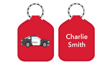 New! Designer Bag Tags - Police Car
