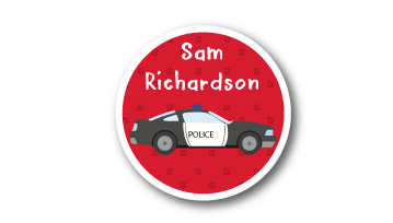 New! Designer Round Name Labels -  Police Car