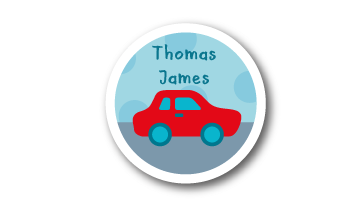 New! Designer Round Name Labels - Red Car