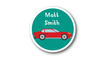 New! Designer Round Name Labels -  Car