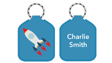 New! Designer Bag Tags - Rocket