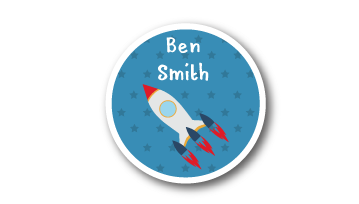 New! Designer Round Name Labels -  Rocket