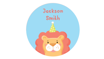 Designer Round Name Labels - Animal
