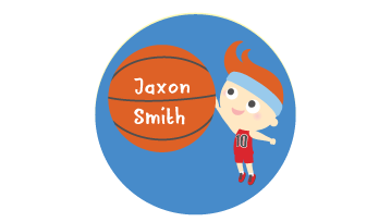 Designer Round Name Labels - Basketball
