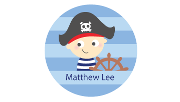 Designer Round Name Labels - Pirate