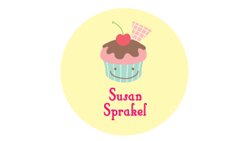 Designer Round Name Labels - Cup Cake