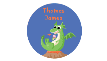 Animated Round Name Labels - Dragon