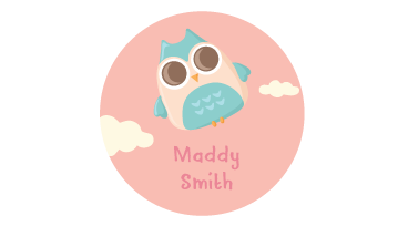 Designer Round Name Labels - Owl