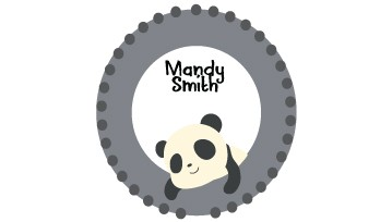 Designer Round Name Labels - Panda