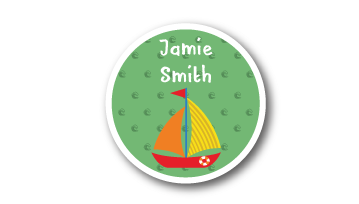 New! Designer Round Name Labels -  Sail Boat