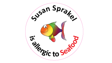 Seafood Allergy Round Name Labels - 30 stickers