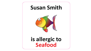 Seafood Allergy Square Name Labels - 30 stickers
