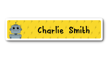 New! Designer Name Labels - Yellow Robot
