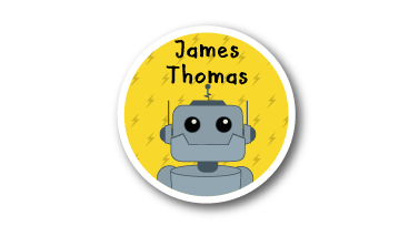 New! Designer Round Name Labels -  Robot